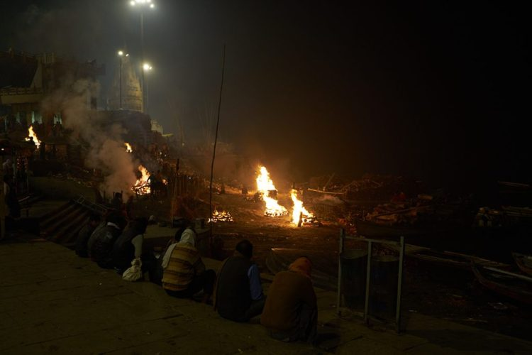 The burning ghats at midnight
